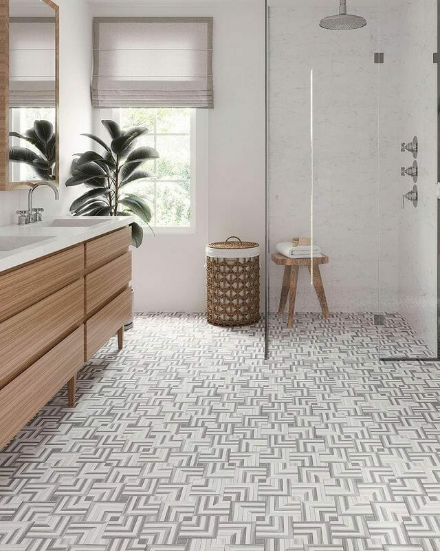 Weave Equator & Thassos Mosaic Tile by The Tile Club